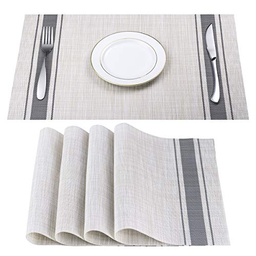 (DACHUI Placemats, Heat-Resistant Placemats Stain Resistant Anti-Skid Washable PVC Table Mats Woven Vinyl Placemats, Set of 4 (Grey))