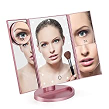 GoLine Tri-Fold Makeup Mirror w/ 22 LED Lights, Foldable Travel Cosmetic Mirrors, Touch Screen and Vanity Lighted 3X/2X/1X Magnification Mirror, Two Power Supply, Rose Gold Tabletop Mirror.(MM01)