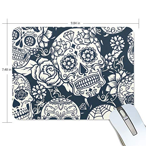 Halloween Sugar Skull Rectangle Non-Slip Rubber Mousepad Gaming Mouse Pad 7.48X9.84 Inch