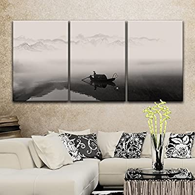 3 Panel Fisherman in The Boat on The Misty River x 3 Panels, With Expert Quality, Majestic Design