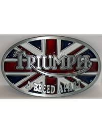 Triumph Motorcycles - A Breed Apart - British Flag Design Oval Belt Buckle for Belts, by Canada Buckles. Ships from Cornwall, Ontario, Canada.