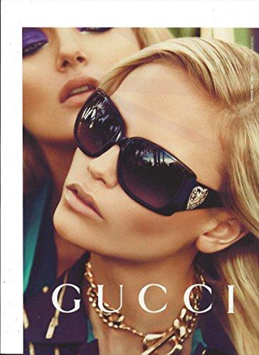--PRINT AD-- With Natasha Poly For 2009 Gucci Black Frame - Sunglasses Natasha