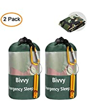 AMOYON Emergency Bivy Sack, Survival Sleeping Bag Emergency Blanket Lightweight and Compact Survival Gear for Outdoor,Hiking,Camping with Portable Drawstring Bag + Whistle + Carabiner
