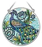 Amia 4-1/2-Inch Circle Hand-Painted Glass Suncatcher, Decorative Peacock, Medium