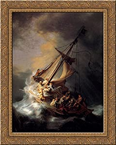 Amazon christ in the storm on the sea of galilee 20x23 gold christ in the storm on the sea of galilee 20x23 gold ornate wood framed canvas art by rembrandt publicscrutiny Images
