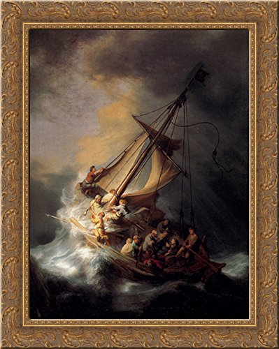 Amazon christ in the storm on the sea of galilee 20x23 gold christ in the storm on the sea of galilee 20x23 gold ornate wood framed canvas art publicscrutiny Choice Image