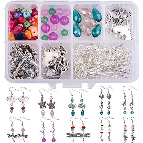 SUNNYCLUE 1 Box DIY 10 Pairs Starfish Mermaid Dragonfly Dangle Earring Making Kit Jewelry Making Supplies Beading Starter Kits for Beginner Adults Girls Fish Hook Silver Dragonfly Hook Dangle Earrings