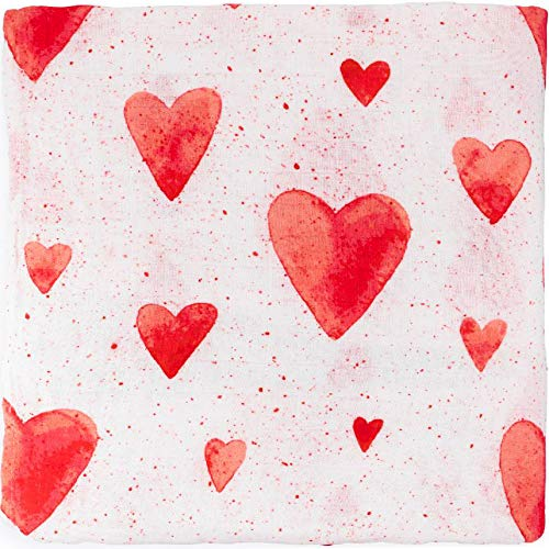 ADALINE Muslin Swaddle Blankets - Red Hearts - Baby Girl Nursery Essentials - Ultra Soft Bamboo Cotton (Large, 47x47) ()