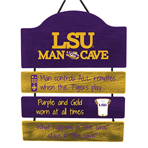 (FOCO NCAA LSU Tigers Mancave Sign, Team Color, One Size)