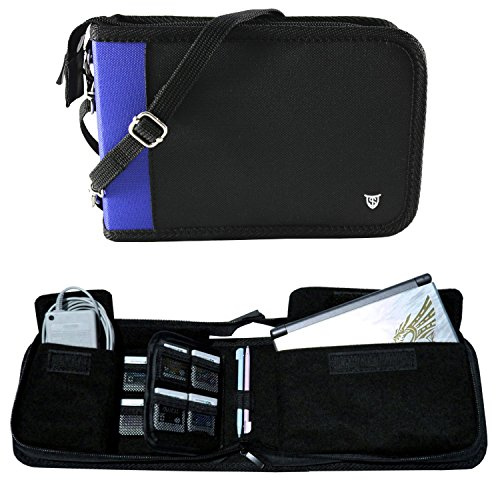 Technoskin - All In One Travel Carrying Case for NEW 3DS or NEW 3DS XL - Black and Blue - 12 Game Holders - Charger Pouch - Carrying Strap