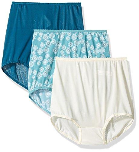 Bali Women's Skimp Skamp Brief Panties (3-Pack), Sage Toss/Dark Water Teal/Moonlight, Medium/6
