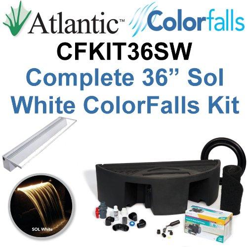 Atlantic Water Gardens CFKIT36SW Complete Sol White Colorfalls Lighted Falls Kit - 36