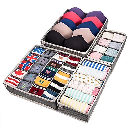 MIU COLOR Foldable Closet Underwear Organizer Drawer Divider Storage Boxes Under Bed Organizer 4 Set for Underwear, Bras, Socks, Ties, Scarves (Gray) ()