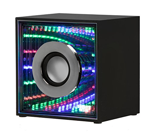 Sharper Image SBT636BK Infinity Lights Mirror, Bluetooth Wireless Speaker with Lights, Colorful LED Show