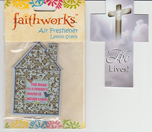 House Shaped Air Freshener Lemon Scent with Cross Bookmark
