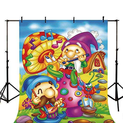 Kids Stylish Backdrop,Cartoon Style Singing Elves with Mushroom Playing Flute Musical Cheerful Illustration for Photography,118