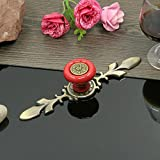 Sytian 7pcs Candy Color Pretty Vintage Style Ceramic Pumpkin Drawer Knobs Dresser Cabinet Cupboard Wardrobe Pull Handles Door Knobs - With Screw (Pretty Red)