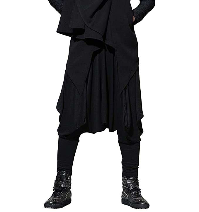 Men's Steampunk Clothing, Costumes, Fashion ellazhu Men Baggy Elastic Waist Black Harem Pants Yoga Genie Trouser GYM22 A $34.95 AT vintagedancer.com