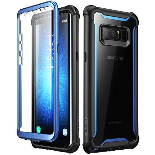 i-Blason Funda Samsung Galaxy Note 8, Ares con Protectores de Pantalla incorporados para Samsung Galaxy Note 8 (2017), Transparente (Negro/Azul)