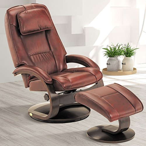 Mac Motion Oslo Collection by Bergen Recliner and Ottoman in Merlot Top Grain Leather (Collection Leather Chair)