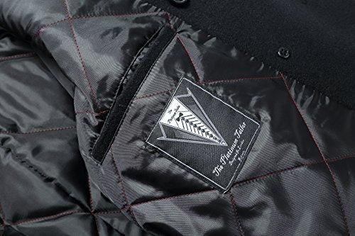 Herren schwarz Wolle & Cashmere Peacoat zweireihig Mantel warme Wintermantel