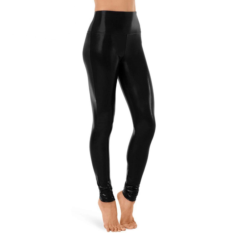 18084e3a98232 Amazon.com: ZHANGZZ Women High Waisted Metallic Dance Leggings Full Length  Shiny Performance Costumes Spandex Pants Adult Trousers: Clothing