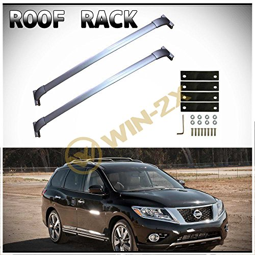 - WIN-2X 2pcs New Factory Style Silver Aircraft Aluminum Roof Rack Cross Bars Cargo Carriers + Brackets + Mounting Hardwares Fit 13-17 Nissan Pathfinder