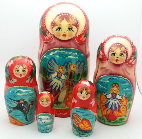 Thumbelina fairy tale Russian Hand Carved Hand Painted Nesting 5 piece DOLL Set / 7