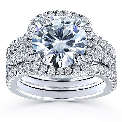 Round Forever One D-F Moissanite Cushion Halo Bridal Wedding Set 4 1/3 CTW 14k White Gold 3 Piece Set, 5