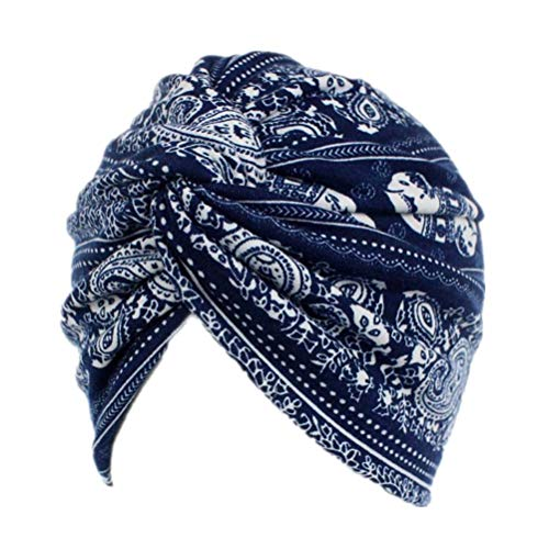 Fxhixiy Womens Floral Print Cotton Twist Pleasted Hair Turban Hat Chemo Beanie Cap Headwear for Cancer Patient (Navy Elephant)