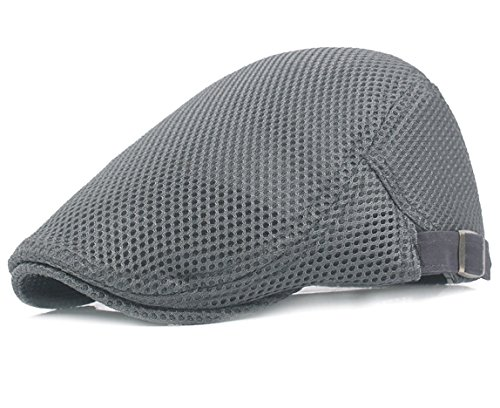 Men Breathable mesh Summer hat Newsboy Beret Ivy Cap Cabbie Flat Cap, Grey, One Size Fits Most