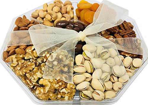 Nutty For You Holiday Gift Freshly Roasted Nuts, Delicious Salted Almonds, Buttery Cashews, Tasty Pistachios, Savory Mixed Nuts, Chocolate Covered Almonds, Walnuts, Pecan (Deluxe 2.5 LBS) (Gift Baskets Omaha)