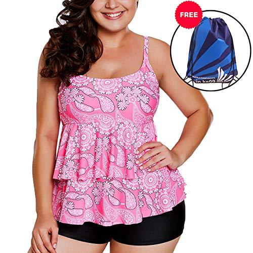 Sylaon Two Piece Womens Swimsuits Plus Size Tankini Set A-Tops with Bottom Printed Swimwear Bikini US 16-18/XXL C-pink Paisley Print+pants (Pant Print Paisley)