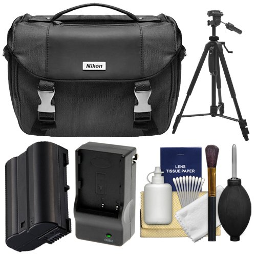 Nikon Deluxe Digital SLR Camera Case - Gadget Bag with EN-EL15 Battery + Charger + Tripod + Cleaning Kit for D7200, D7500, D610, D750, D810, D850 by Nikon