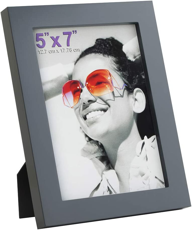 RPJC 5x7 Picture Frames Made of Solid Wood High Definition Glass for Table Top Display and Wall Mounting Photo Frame Grey