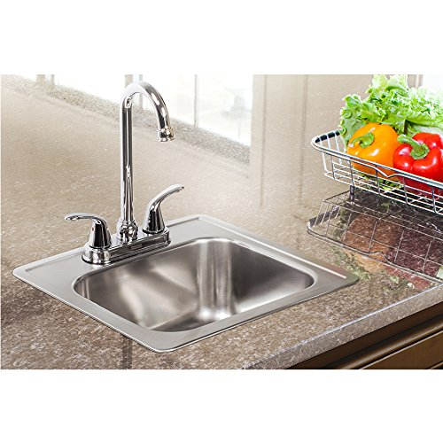 Kindred Essentials All-in-One Kit 15-inch x 15-inch x 6-inch Deep Drop-In Bar or Utility Sink in Satin Stainless Steel, FBFS602NKIT by KINDRED (Image #2)