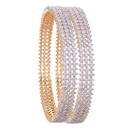 Ratnavali Jewels CZ Zirconia Gold Tone White Diamond Elegant Bollywood Indian Bangles Jewelry Women (White, 2.6)
