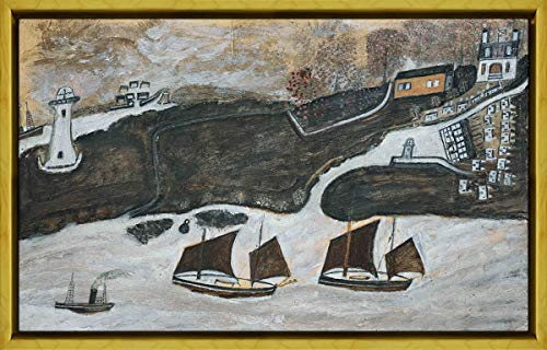 Berkin Arts Framed Alfred Wallis Giclee Canvas Print Paintings Poster Reproduction(Two Ships and Steamer Sailing Past A Port Falmouth and St. Anthony Lighthouse) #XLK (Furniture Falmouth)