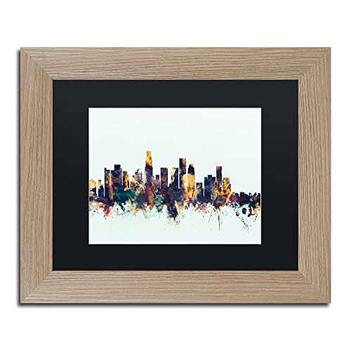 Los Angeles CA Skyline Blue by Michael Tompsett, Black Matte, Birch Frame 11x14-Inch (Los Egg Green Big Angeles)