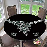 """PINAFORE HOME Round Tablecloths Diamond Necklace on Black Background with Diamond Ear r or Everyday Dinner, Parties 63""""-67"""" Round (Elastic Edge)"""