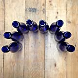 12 - Cobalt Blue Hock Flat Bottom Glass Bottles 375ml for Bottle Trees, Crafting, Parties,Wedding Center Piece , Decor , Home Brew , Beer, Wine