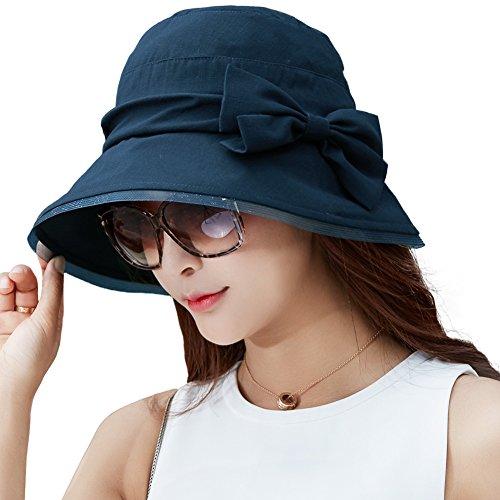 591ddd109940e Siggi Womens Summer Bucket Boonie UPF 50+ Wide Brim Sun Hat Packable Beach  Accessories Navy