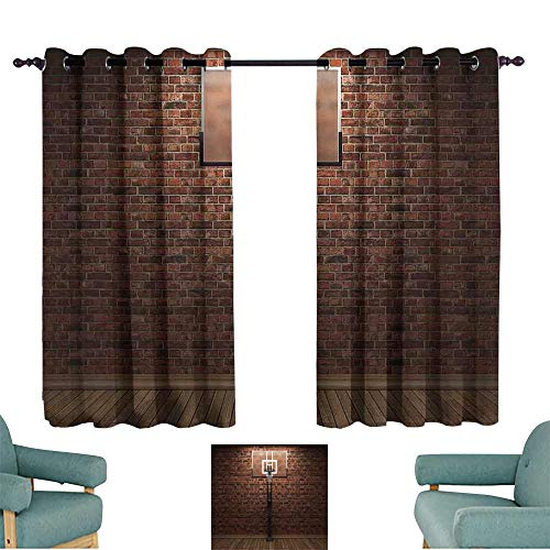 (Sports Decor Thermal Insulated Drapes for Kitchen/Bedroom Old Brick Wall and Basketball Hoop Rim Indoor Training Exercising Stadium Picture Print for Living, Dining, Bedroom (Pair) 63