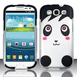 Love Shy White Panda Bear Design Phone Cover Case for Samsung Galaxy S3 III + FREE PRIMO DESIGN CARTOON FOLDABLE TOTE BAG