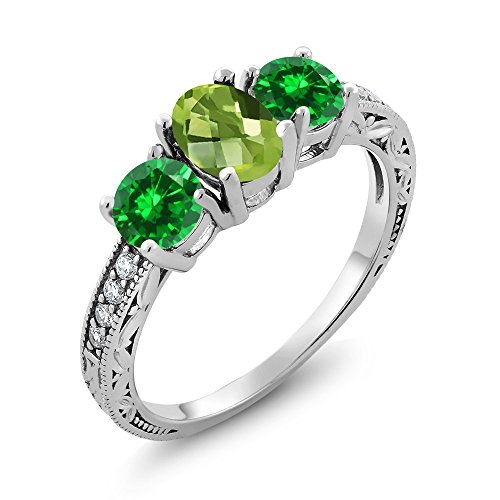 Emerald Cut Peridot Stone - Gem Stone King 2.65 Ct Oval Checkerboard Green Peridot Green Simulated Emerald 925 Sterling Silver Ring (Size 9)