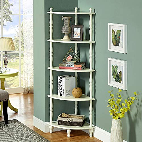 HAFurniture 5-Shelf Bookcase Rustic Corner Shelf Rack Wooden Shelves with 4 Leg Supports-White