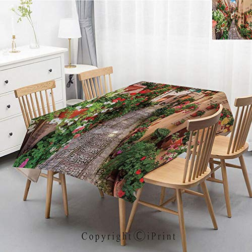Washable Square Cotton Linen Print Tablecloth,Vintage Dinner Picnic Table Cloth Home Decoration Assorted Size,40x60 Inch,Tuscan,Sunset Skyline of Hong Kong Traditional Cruise Sailboat at Harbor Image