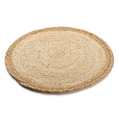 Braided Round Trivets - DOKOT Rattan Dinning Palcemat Woven Braided Round Table mats Hot Pad Heat Resistant Easy Clean (Khaki Border)