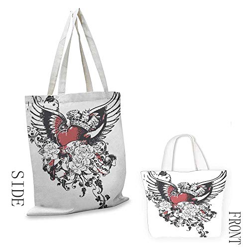(Natural canvas tote Modern Tattoo Style Heart Crown with Wings Artictic Love Valentines Gothic Romance Graphic Leisure travel bag 16.5