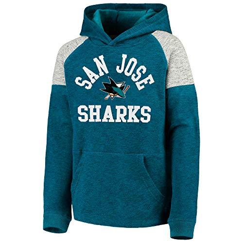 Outerstuff NHL Youth 8-20 Team Color Hat Trick Pullover Sweatshirt Fleece Hoodie (Medium 10/12, San Jose Sharks) (Sharks Sweater San Jose)